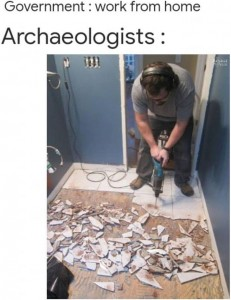 archaeologist working from home